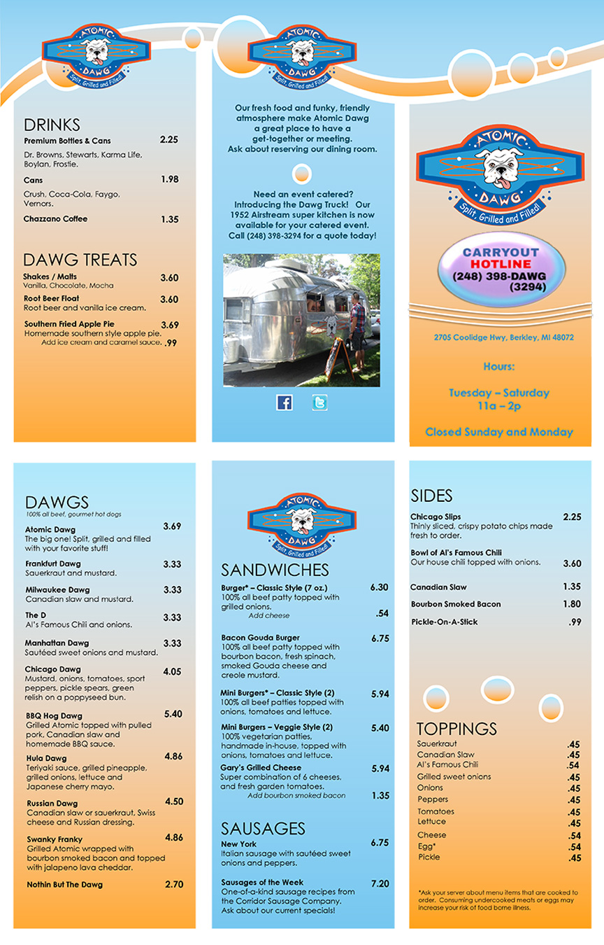 Atomic dawg for Carryout menu